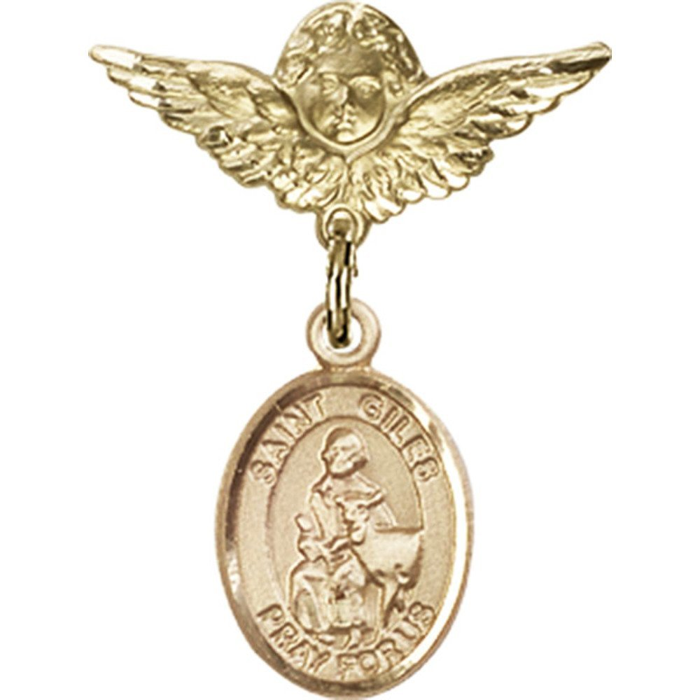 14kt Yellow Gold Baby Badge with St. Giles Charm and Angel w/Wings Badge Pin 1 X 3/4 inches by Bonyak Jewelry Saint Medal Collection