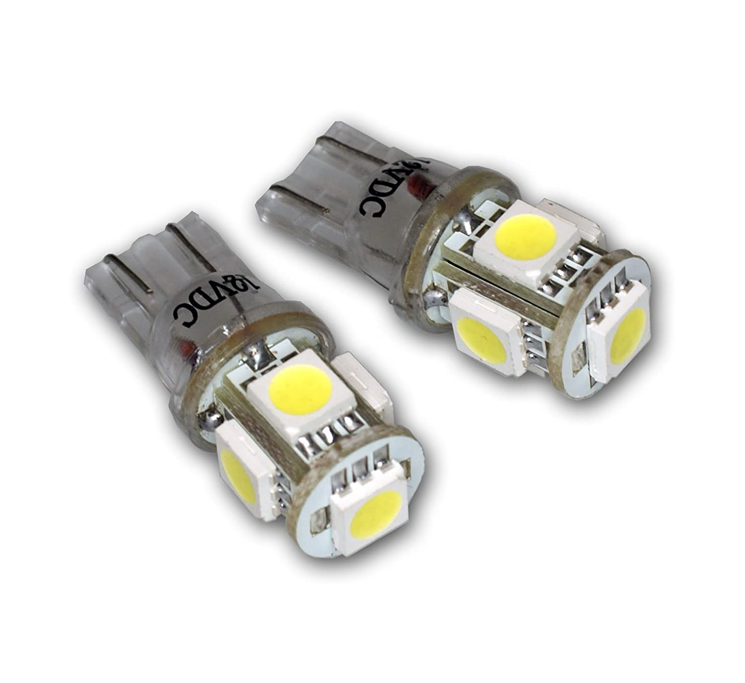 TuningPros LEDUHL-T10-WS5 Under Hood Light LED Light Bulbs T10 Wedge, 5 SMD LED White 2-pc Set