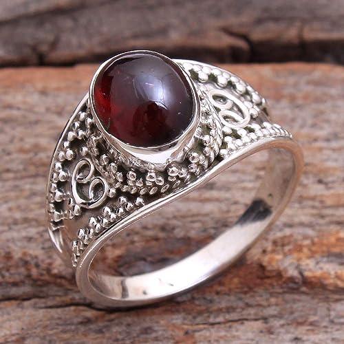 925 Sterling Silver Natural Garnet Gemstone Handmade Designer Ring All Sizes