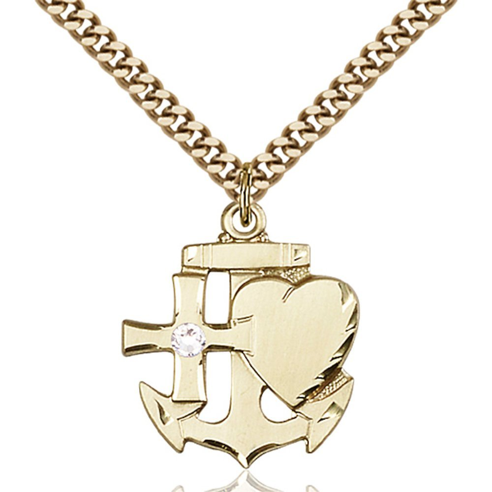 Gold Filled Faith Hope & Charity Pendant with 3mm April Swarovski Crystal 7/8 x 3/4 inches with Heavy Curb Chain by Bonyak Jewelry Saint Medal Collection