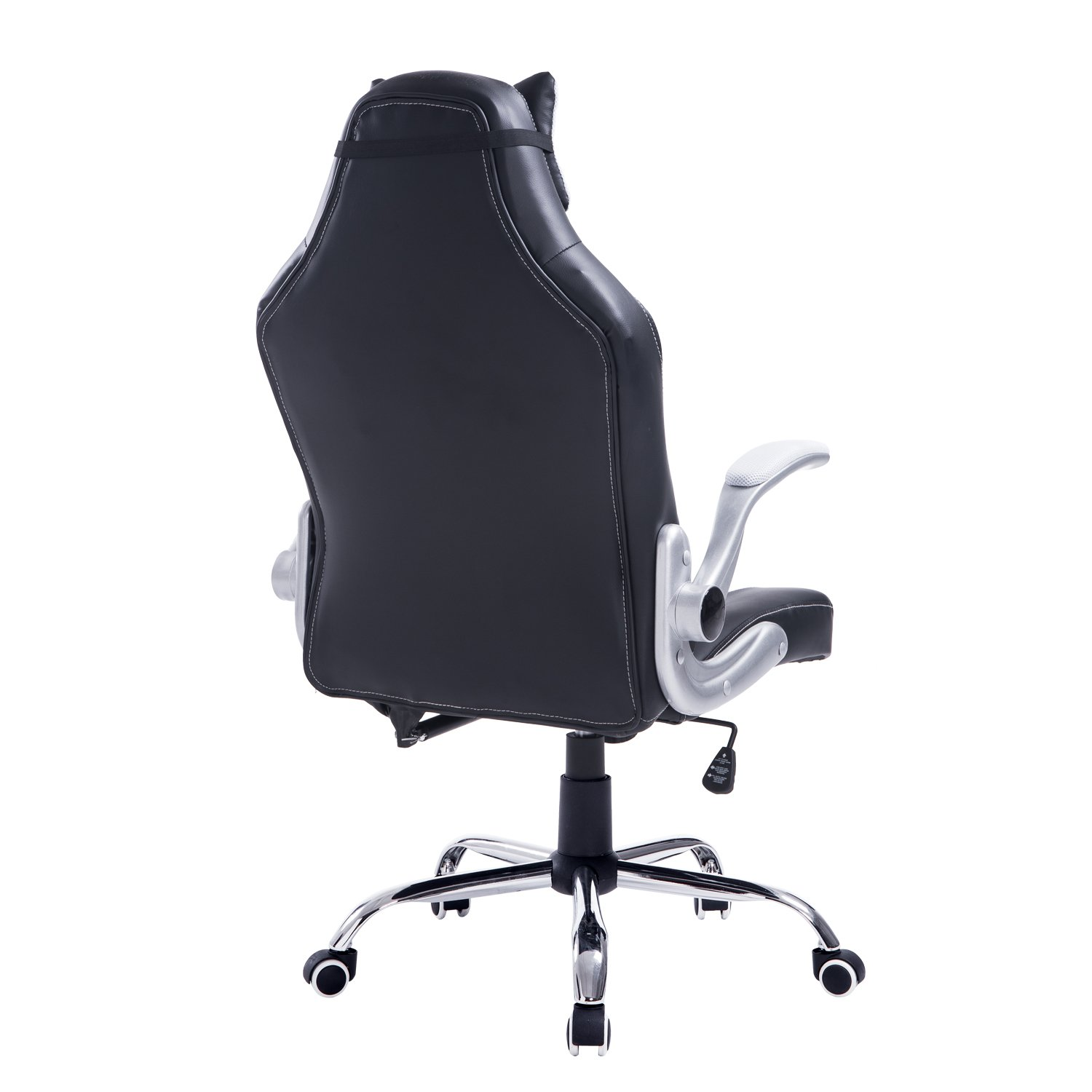 Black and white office chair - Amazon Com Homcom Racing Style Executive Gaming Office Chair Black And White Kitchen Dining
