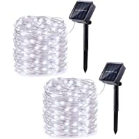 2 Pack Solar String Lights, 33ft 100LED 8 Modes Outdoor String Lights, Waterproof Decorative String Lights for Patio, Garden, Gate, Yard, Party, Wedding, Christmas (White)
