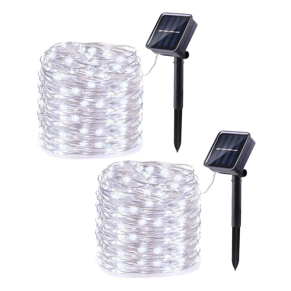 Joomer 2 Pack Solar String Lights, 33ft 100LED 8 Modes Outdoor String Lights, Waterproof Decorative String Lights for Patio, Garden, Gate, Yard, Party, Wedding, Christmas (White)