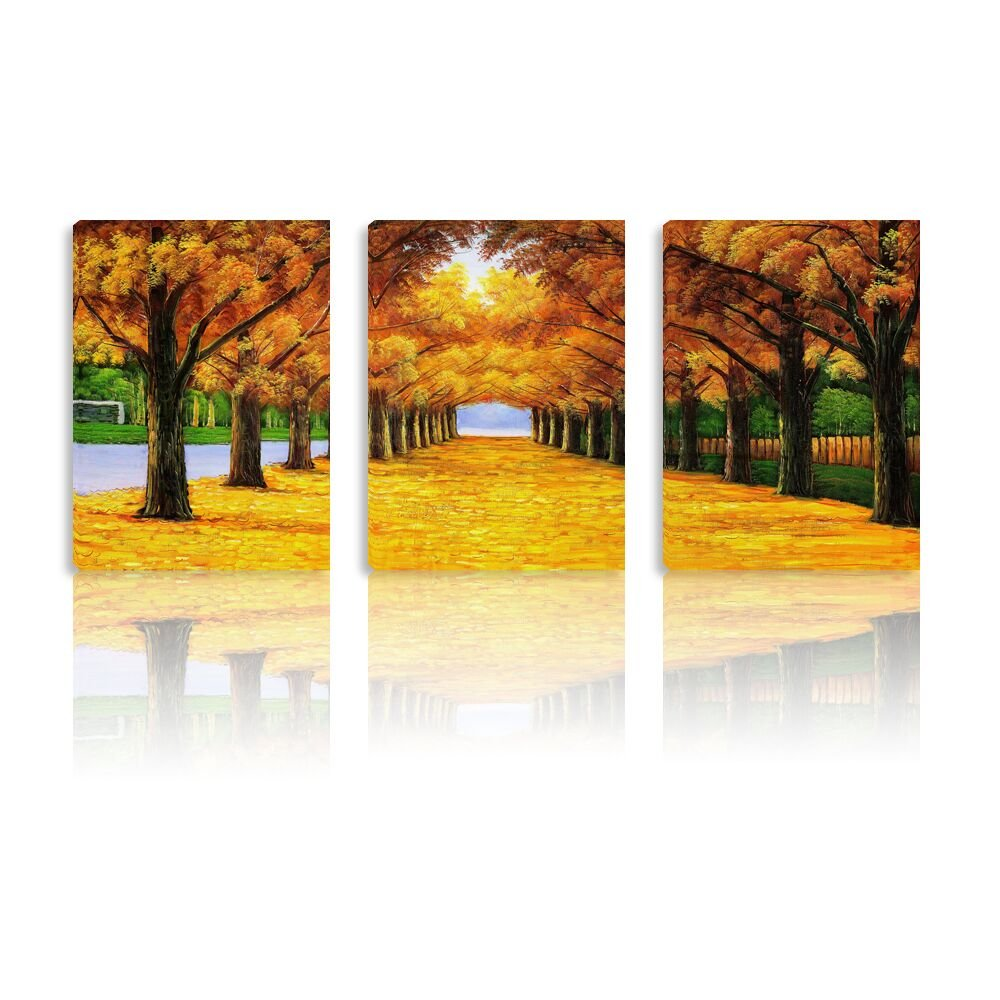 Elegant Forest Wall Canvas Paintings, 3 Panels Stretched on Wood Frame and Ready to Hang Wall Art for Hotel/School/Home/Office with Size 12''x16''x3pcs