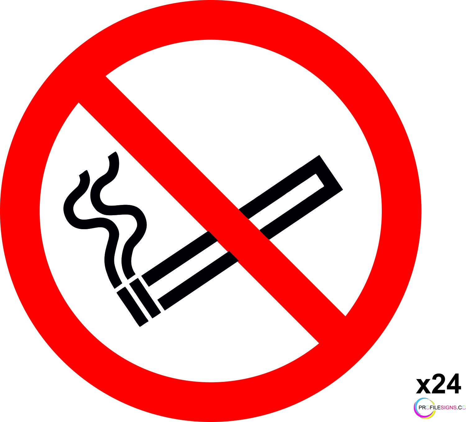 SELF ADHESIVE STICKER PACK OF 12 NO SMOKING SIGNS ISO COMPLIANT LABEL SCREEN PRINTED BY PROFILESIGNS 12