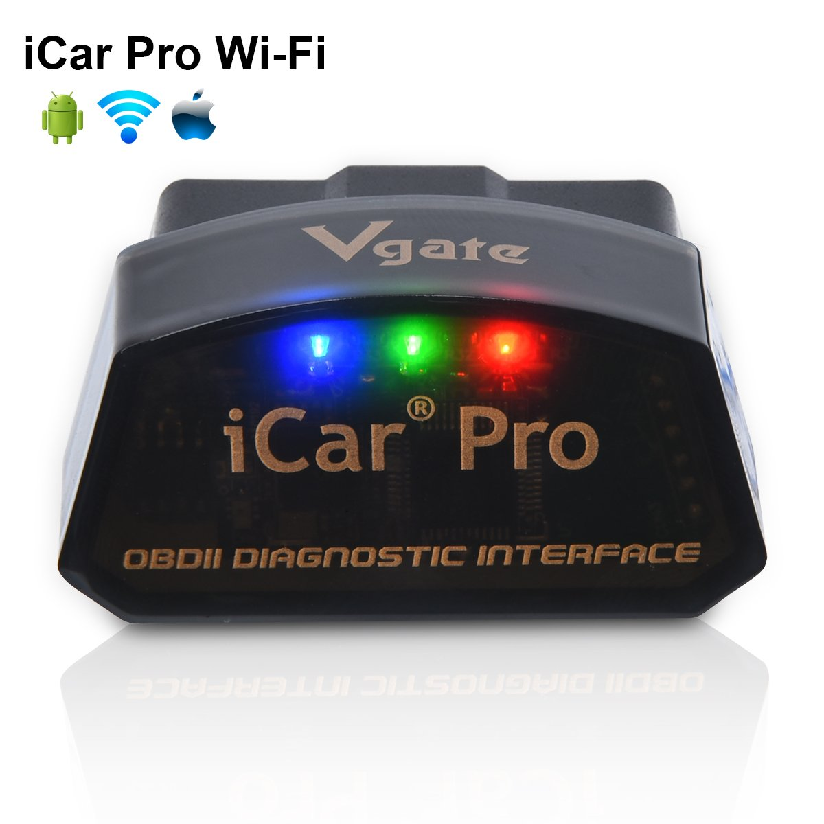 Vgate iCar Pro Wi-Fi OBD2 Scanner Scan Tools OBDII Car Diagnostic Tool Code Reader Fault Check Engine Light for iOS iPhone iPad/Android Compatible with ELM327 Adapter
