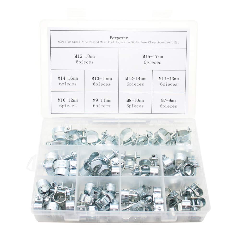 Eowpower 60Pcs 10 Sizes Zinc Plated Mini Fuel Injection Style Hose Clamp Assortment Kit