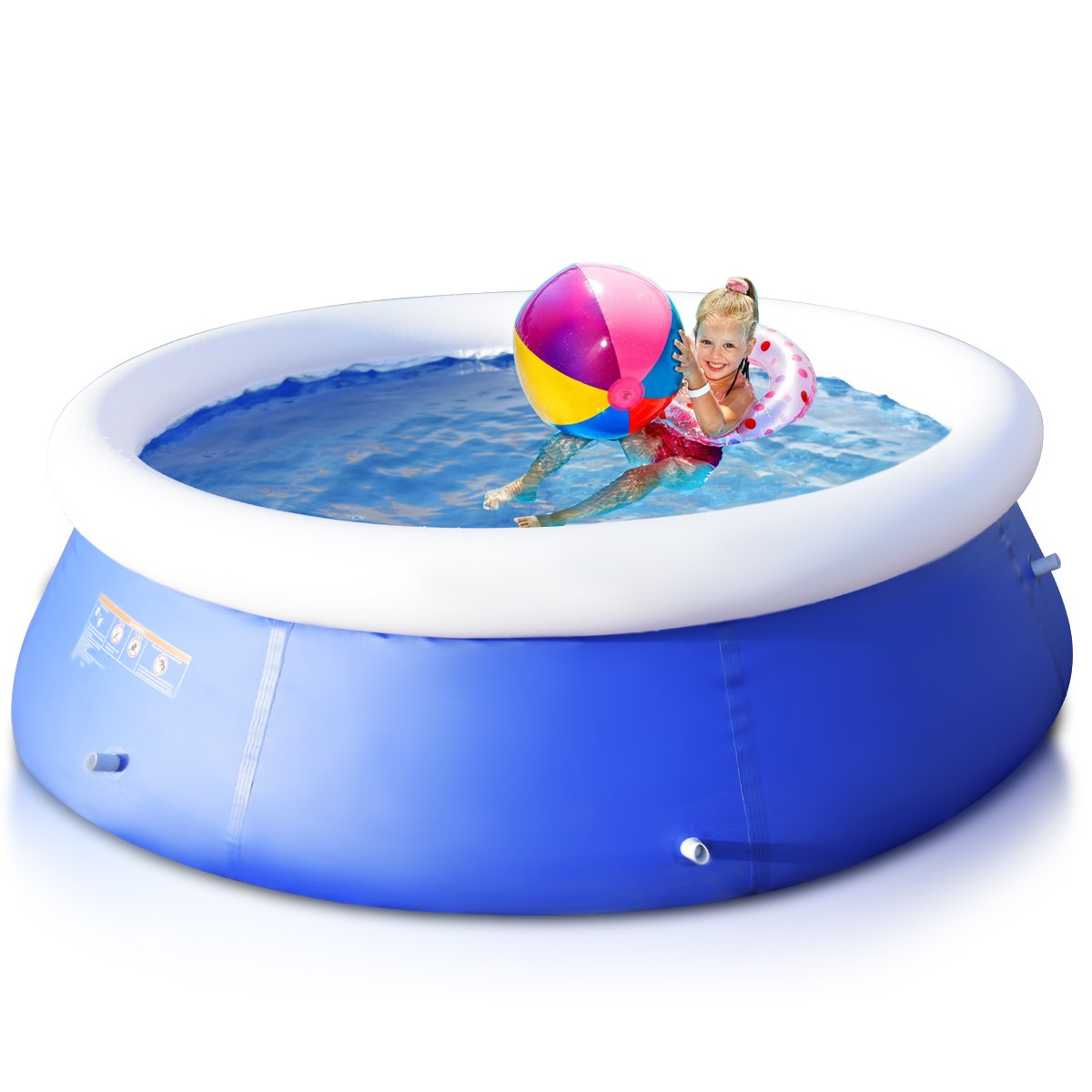 Goplus Inflatable Swimming Pool Family Lounge Pool Swim Play Center Easy Set Pool without Pump, 8' x 30'' (Blue) by Goplus (Image #7)