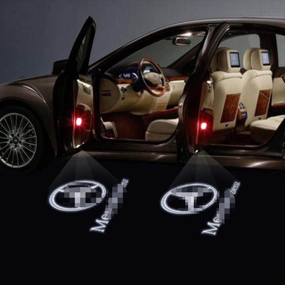Welcome Lamp,KVCH 1 pair LED Courtesy Lights Easy Installation Car Door Laser Projector Logo Wireless Ghost Shadow Lights for Benz C Class W204 2007-2013 C260 C300 C200 C280 C230