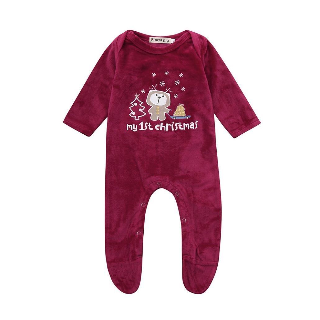 Hirolan Kinderstrumpfhosen Weihnachten Neugeborene Strampler Babykleidung Mädchen Jungen Beschriftung Karikatur Bär Drucken Strampelhöschen Wildleder Overall Lange Ärmel Outfit