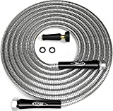 TITAN 75ft Garden Hose - Newest Metal Water Hose with Solid Connectors, 360 Degree Brass Sprayer Nozzle - Lightweight, Kink-Free Strong and Durable Heavy Duty 304 Stainless Steel