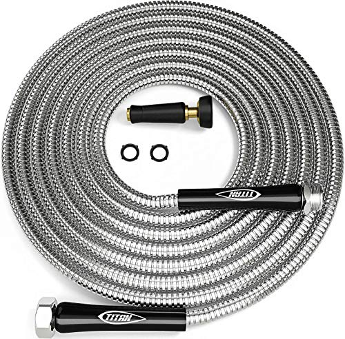 TITAN 15FT Garden Hose – Newest Metal Water Hose with Solid 3/4″ Connectors, 360 Degree Brass Sprayer Nozzle – Lightweight, Kink-Free Strong and Durable Heavy Duty 304 Stainless Steel