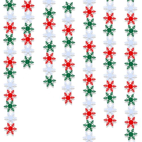 LeeSky 50Pcs White & Red & Green Winter Wonderland Christmas Snowflake Hanging Garland for Christmas Holiday New Years Home Decor Party Decorations