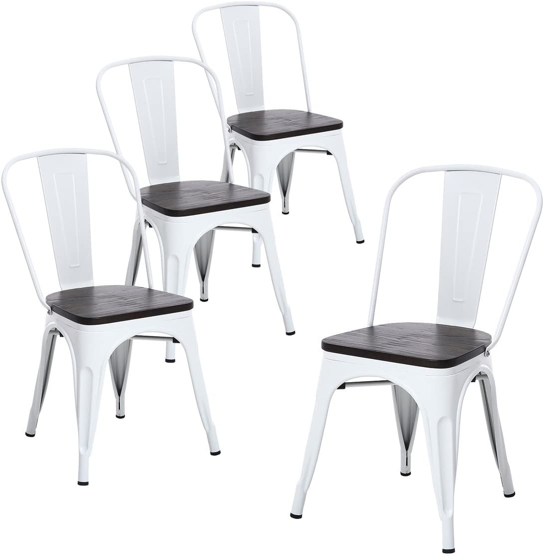 Buschman Metal Chairs with Back & Wooden Seat | Vintage Dining Chair Set for Bars, Bistros & Cafes | Stackable Rustic Furniture Chairs for Home & Garden | Indoor & Outdoor | Set of 4, Matte White