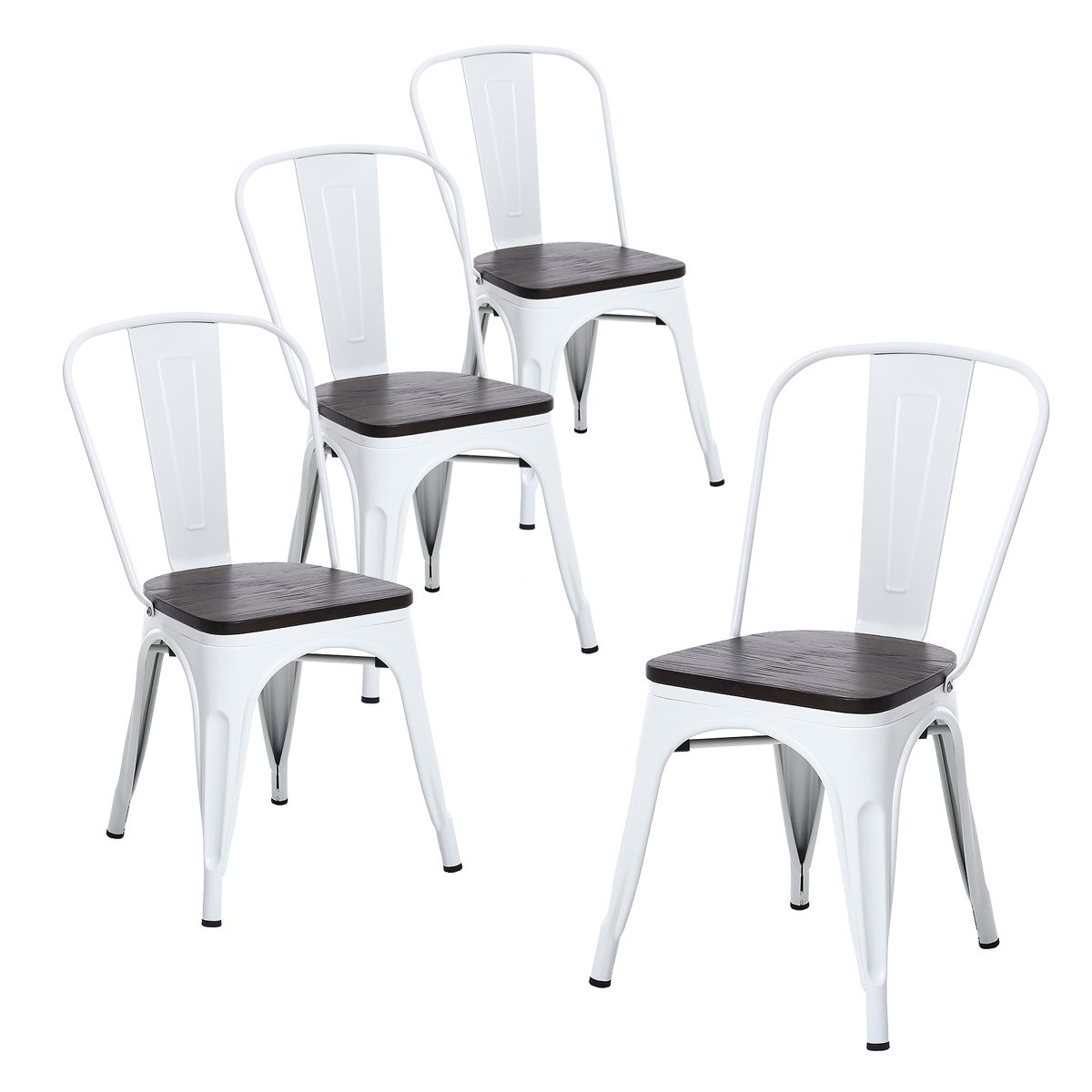 Buschman Set of Four Matte White Wooden Seat Tolix-Style Metal Indoor/Outdoor Stackable Chairs with Back