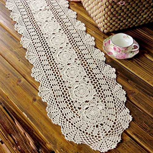 35-94 Inch Rectangle HANDMADE Crochet Lace Tablecloth,Beige,12X35 Inch