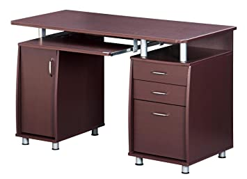 TECHNI MOBILI Complete Workstation Computer Desk With Storage   Chocolate