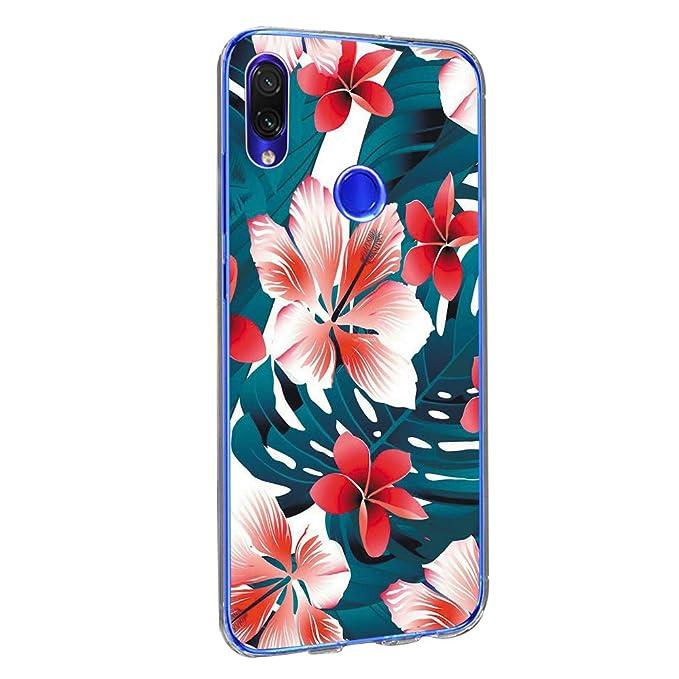 vibtier Funda Xiaomi Redmi Note 7 Pro Cover Flexible TPU Silicona Transparent Waterproof Bumper Carcasa Xiaomi Redmi Note 7 Phone Case - Floral