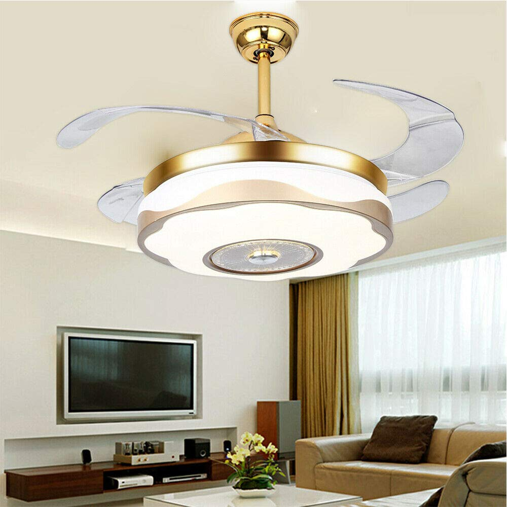 TFCFL 42'' Invisible Ceiling Fans Lamps Lighting Chandelier Remote Control 110V 70W Acrylic & ABS