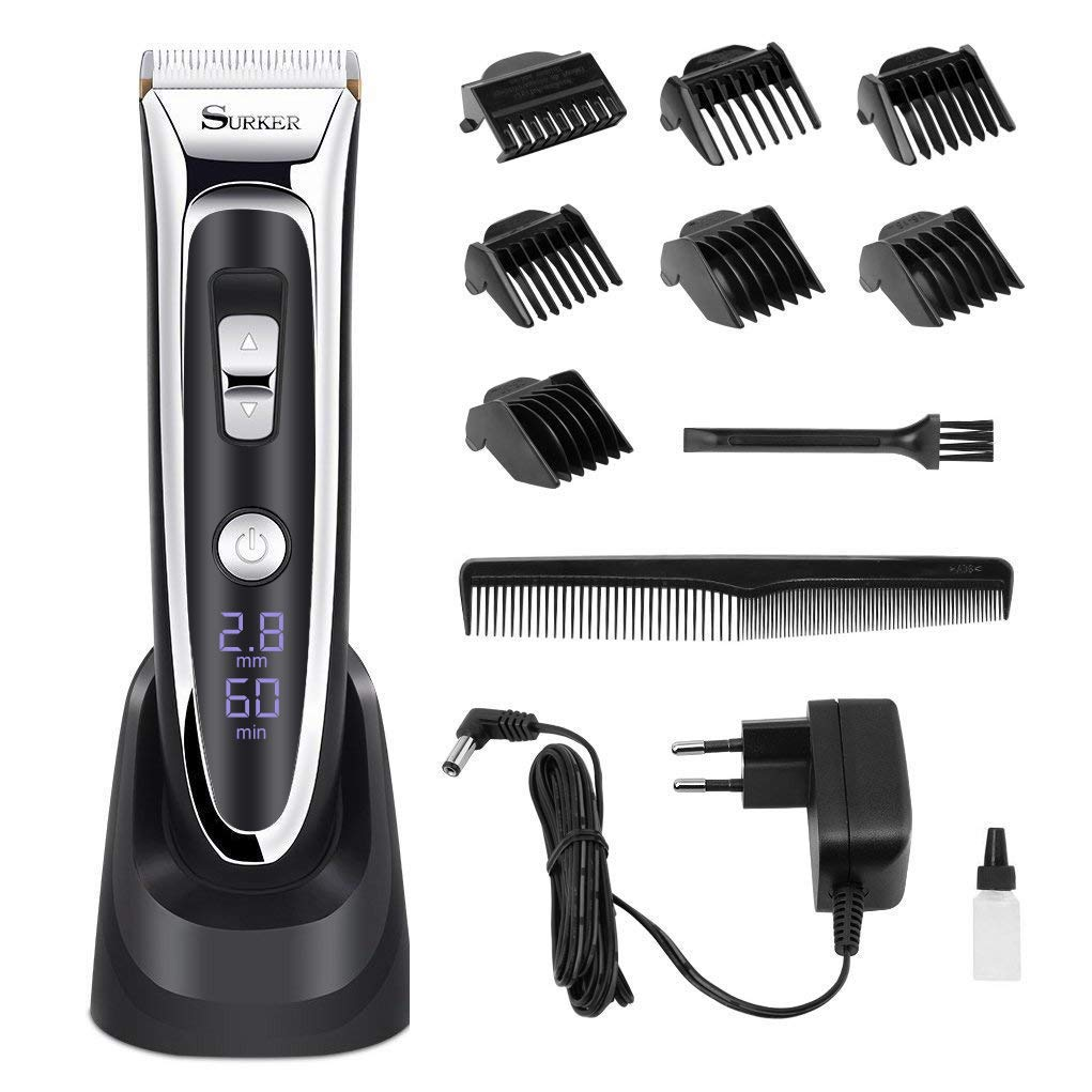 Professional Hair Clippers Set for Men, Facial and Mustache Trimmers, Cordless Electric Haircut Kit with Gear Adjustment, Security Lock and LED Display