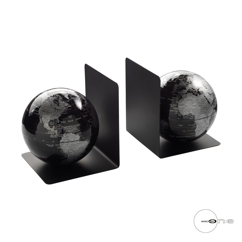 Mascagni Pair of Black Globe Bookends