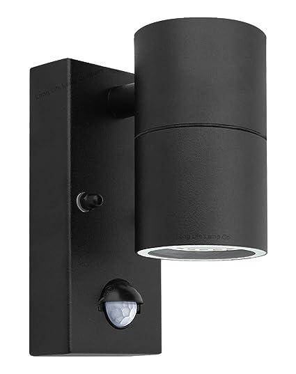 Long Life Lamp Company Aplique Negro PIR de Acero Inoxidable para Pared para Exteriores con Sensor