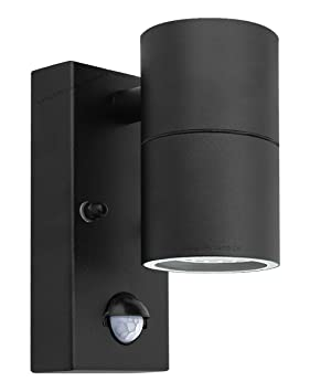 Black pir stainless steel single outdoor wall light with movement black pir stainless steel single outdoor wall light with movement sensor down outdoor wall light mozeypictures Choice Image