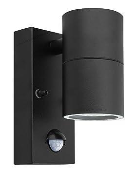 Black pir stainless steel single outdoor wall light with movement black pir stainless steel single outdoor wall light with movement sensor down outdoor wall light aloadofball Choice Image