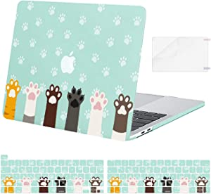 MOSISO Compatible with MacBook Pro 13 inch Case 2016-2020 Release A2338 M1 A2289 A2251 A2159 A1989 A1706 A1708, Plastic Pattern Cute Claw Hard Shell Case & Keyboard Cover & Screen Protector,Mint Green