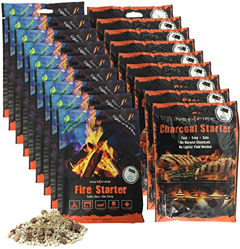InstaFire Granulated Emergency FireStarter Combo Kit, 18 pack: 9 packs Charcoal Starter, 9 packs Fire - To Block Wind How