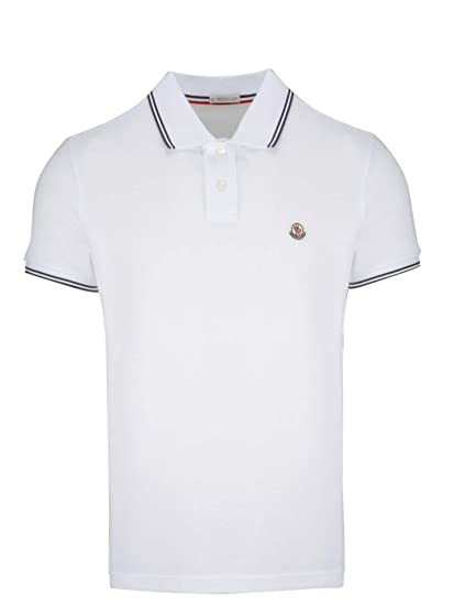 31e0acdb1 Image Unavailable. Image not available for. Color: Moncler Men's  830430084556001 White Cotton Polo Shirt