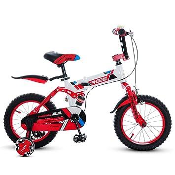 Fenfen Bicicletas para Niños 3-4 Años de Edad Bicicleta Plegable para Niños Cochecito DE 14 Pulgadas Bicicleta de Montaña Naranja (Color : White): ...