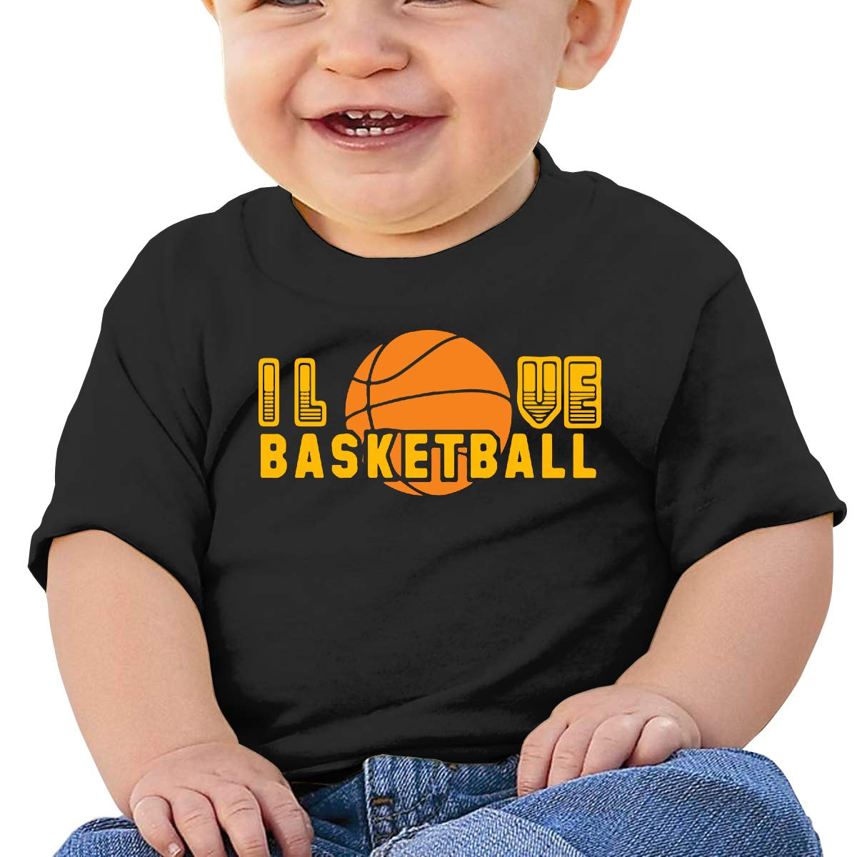 I Love Basketball Newborn Baby Newborn Short Sleeve T-Shirt 6-24 Month Soft Tops