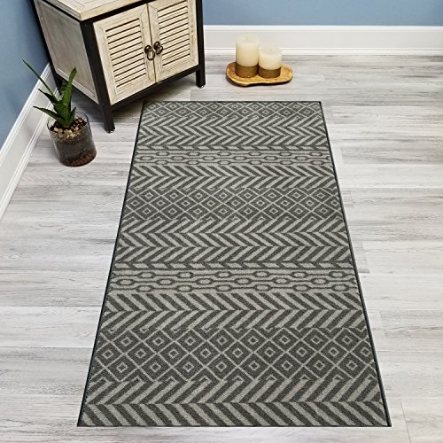 Your Choice Length Grey & Silver Traditional Kilim Non-Slip Rubber Backed Carpet Runner Rug | 22-inch x 29-feet 29' Nylon Rug
