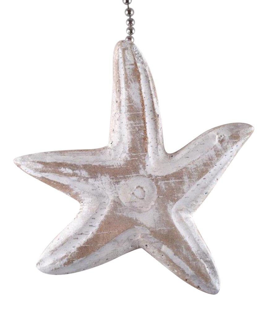 MTI Coastal Ocean Beach Wavy Starfish Carved Whitewashed Wood Ceiling Fan Pull