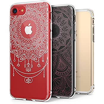 iPhone 7 / iPhone 8 Case, Ringke Fusion [2 PC DECO + Case Combo Pack] [White Mandala Flower / Pink Bohemian Lace] Pattern Design Insert Quality PET Film Cute Transparent Set Pack For Apple iPhone 7