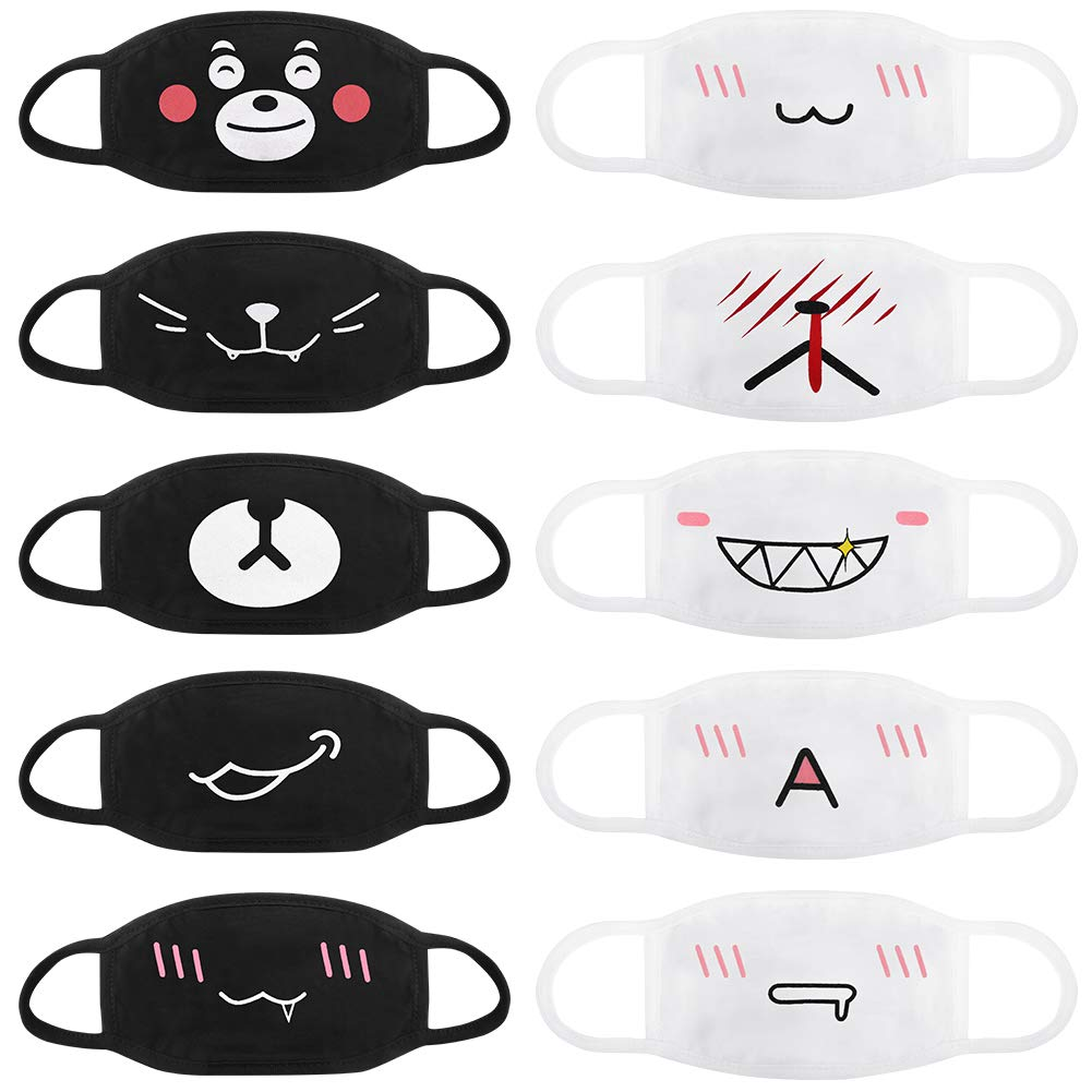 Accmor Fashion Anime Mouth Mask, 10 Pack Cute Unisex Anti-Dust Face Mouth Kawaii Muffle Mask for Kids Teens Men Women, Windproof Motorcycle Face Emoticon Masks for Ski Cycling Camping(Black+ White) by Accmor