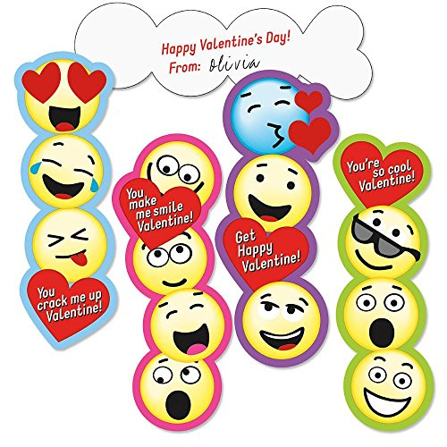 Emoji Bookmark Valentines - Set of 24 (6 of each)