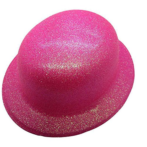 628702ea1da Bowler Hat Glitter Plastic Neon orange  Amazon.co.uk  Toys   Games