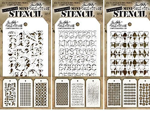 Tim Holtz - Nine Mini Layering Stencils - Numeric, Houndstooth, Rings, Honeycomb, Schoolhouse, Dot Fade, Tiles, Harlequin and Splotches - aka sets 7, 8 & 9 by Tim Holtz