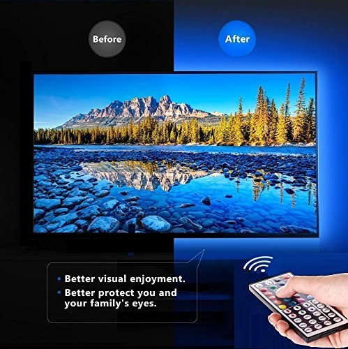 LED TV Backlight Kit, Topled Light® 4x1.64ft Bias Lighting RGB Color Changing with 44Keys Remote + Power Adapter LED Strip Backlight Kit for HDTV Flat Screen LCD, Desktop PC(Backlight Kit)) by Topled Light (Image #2)