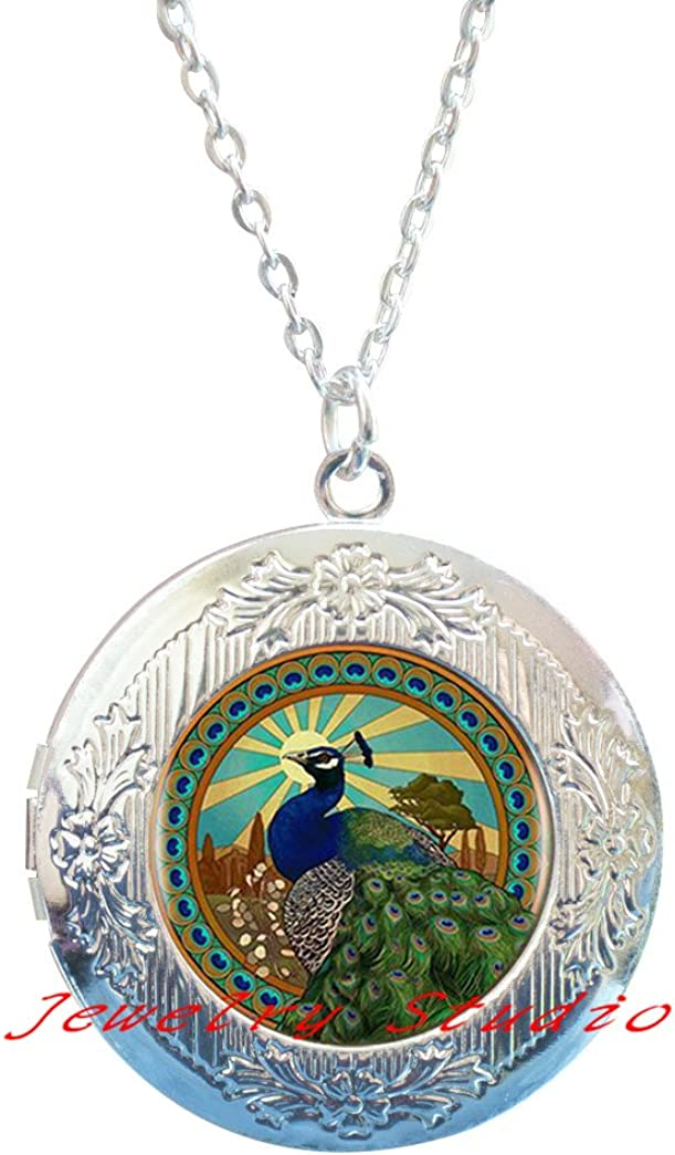 Peacock Locket Necklace Victorian Style Peacock Jewelry Peacock Locket Pendant,photo Locket Pendant art Locket Pendant photo jewelry art jewelry glass jewelry-HZ00179