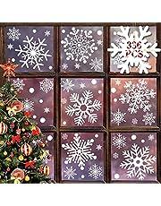heekpek Kerst Raam Stickers Herbruikbare 336 STKS Reuze Sneeuwvlokken Stickers Kerst Raam Klampen Statische Sticker voor Xmas Window Stickers Kerst Decoratie voor Venster