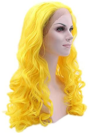 Amazon.com : Long Curly Synthetic Wigs Yellow