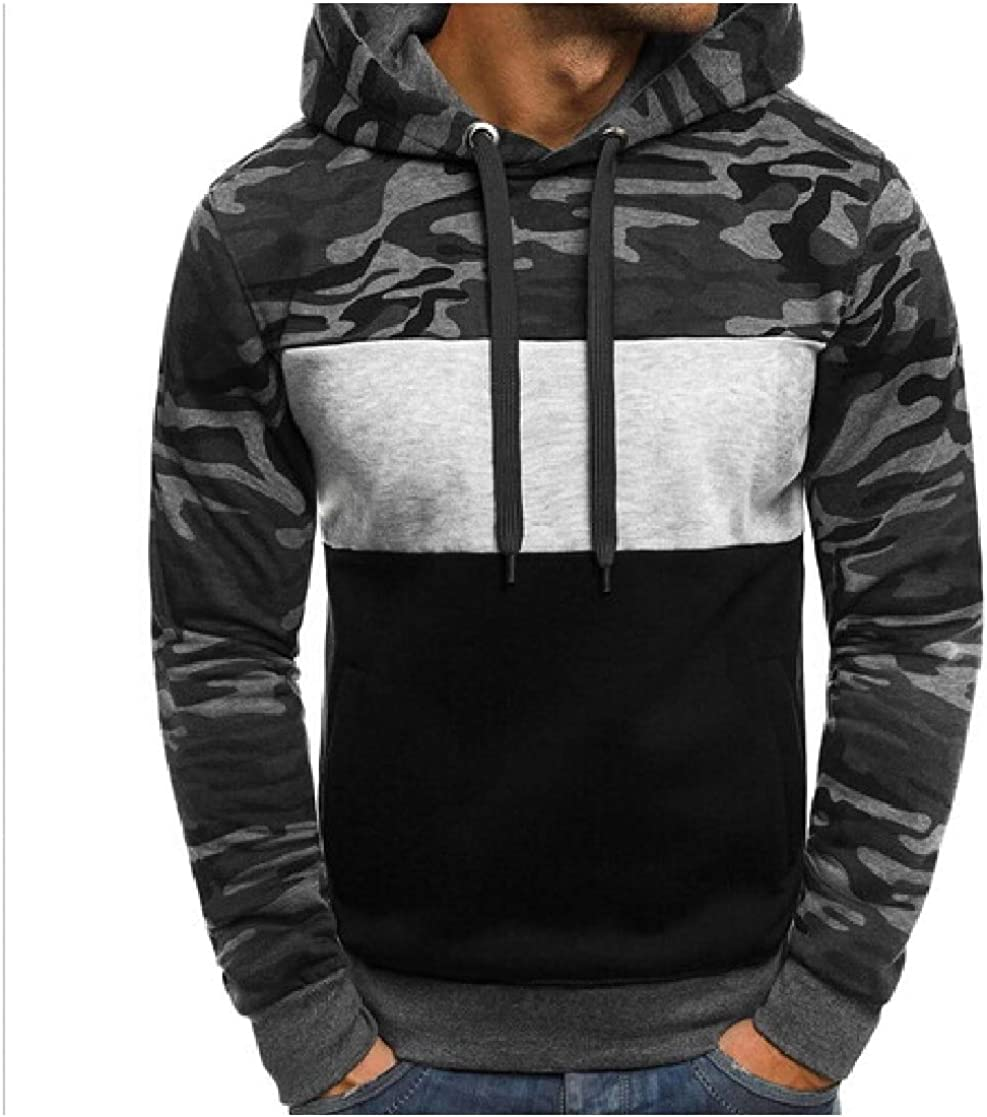 YUNY Mens Print Contrast Camo Thickening Fitted Hooded Sweatshirt 1 2XL