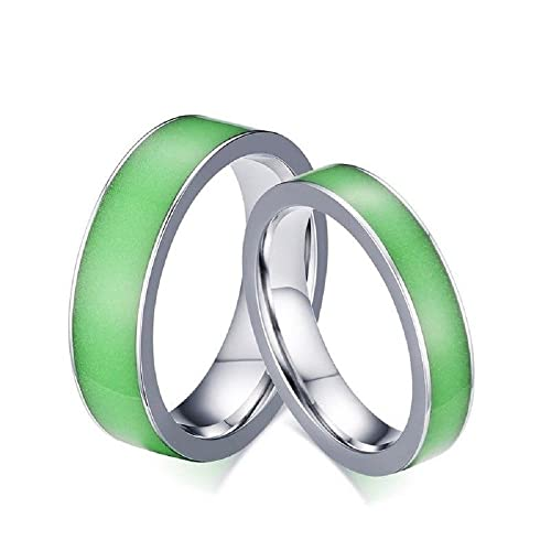 Amazon Com Glow In The Dark Couple Ring Titanium Steel Wedding Band