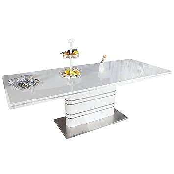 Esstisch design ausziehbar  Ausziehbarer Design Esstisch ATLANTIS weiß Hochglanz 160-220cm ...