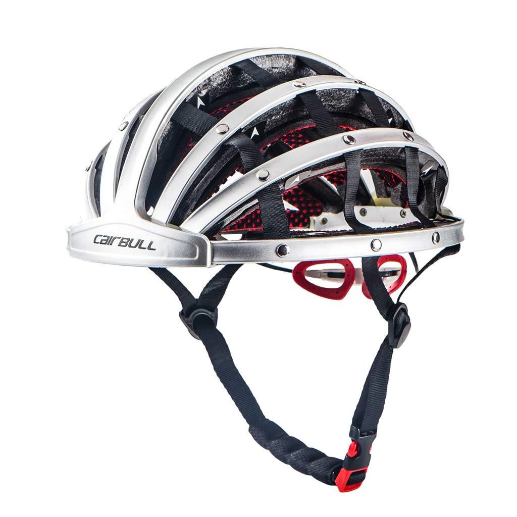 Outsta Folding Helmet Foldable Bicycle Helmet Cycling Bike Helmet Ultralight City Helmet for Men Women,Unisex Adjustable Lightweight Helmet Safety Protection Mountain Bike Equipment 56-62cm (Silver)