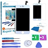 Qi-Eu Screen Replacement for iPhone 6 Touch Screen Digitizer Replacement Full Assembly (White)Repair Tools Kit and Instructions are Included