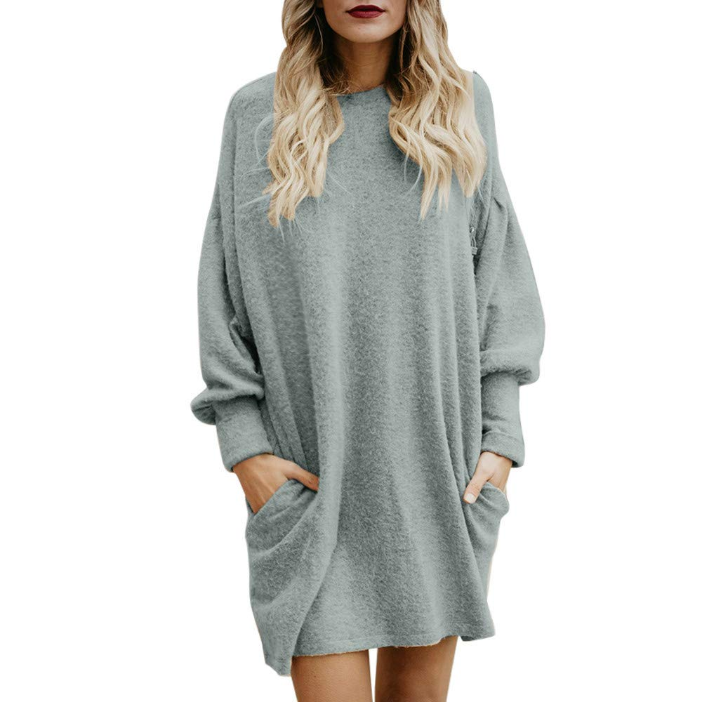 Womens Sweaters, IEason Fashion Women Solid O-Neck Pocket Long Sweater Long Sleeve Casual Loose Pullover IEason Women top